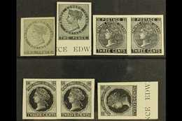 1861 - 1872 PLATE PROOFS. A Group Of Imperf Plate Proofs In Black, Includes The 1861 2d In Grey On India Paper, Then The - Ile Du Prince-Édouard