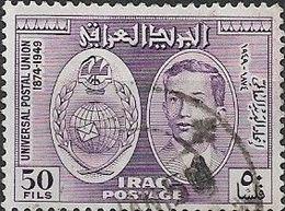 IRAQ 1949 75th Anniv Of UPU - 50f. King Faisal II, Globe And Wreath FU - Iraq