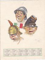 CALENDARIO Cm.27,5x21,5 SATIRICO  UMORISTICO 1° GUERRA  BANDIERA ITALIANA ELMETTI FIRMA  MAZZA 1917  -2---0882-20185 - Calendars
