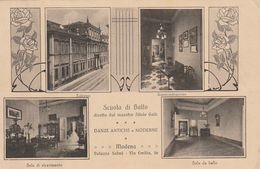 Tarjeta Postal. Italia. Módena Escuela De Baile. Bailes Antiguos Y Modernos. Externo. Administración. Sala De Recepción - Baile