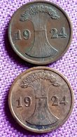DUITSLAND 2 RENTENPFENNIG 1924 J+2 REICHSPFENNIG 1924 A KM 31&32 - 2 Rentenpfennig & 2 Reichspfennig