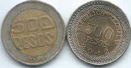 Colombia - 500 Pesos - 1994 (KM286) & 2012 (KM298) - Colombia