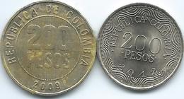 Colombia - 200 Pesos - 2009 (KM287) & 2012 (KM297) - Colombia