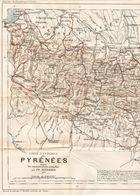 CARTE PLAN 1926 - 30 X 54 Cm - ENSEMBLE De PYRÉNÉES D'APRES Les CONNAISSANCES ACTUELLES Par FR. SCHRADER - 4 Scans - Topographical Maps