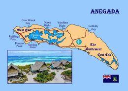 Anegada Island Map British Virgin Islands New Postcard Britische Jungferninseln Landkarte AK - Vierges (Iles), Britann.