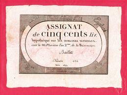 ASSIGNAT DE 500 LIVRES N° 48 MUSZYNSKI  SIGNATURE BAILLET N° 424 SÉRIE 2897 GRANDE MARGE 20 PLUVIOSE AN 2ème Serbon63 - Assignats