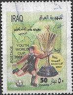 IRAQ 2001 Under 20 Junior World Cup Football Championships, Argentina - 50d - Player And Trophy FU - Iraq
