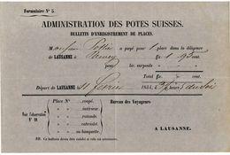 """1854 """" Lausanne """" Passagier - Billet """", R!, A3916 - Suisse"""
