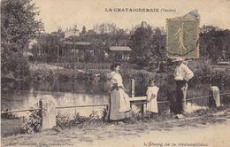85. LA CHÂTAIGNERAIE. CPA.  L'ÉTANG DE LA GRENOUILLÈRE. ANIMATION + TEXTE ANNÉE 1917 - La Chataigneraie