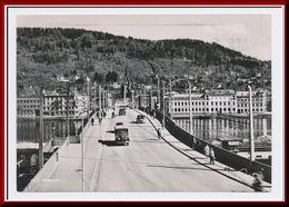 ★★ DRAMMEN BROEN & BILER.  STPL DRAMMEN 1953 ★★ DRAMMEN. BRIDGE & CARS.. BUSKERUD NORWAY  ★★ - Norway