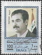 IRAQ 2002 65th Birth Anniversary Of President Hussain - 100d - With Flag At Right FU - Iraq