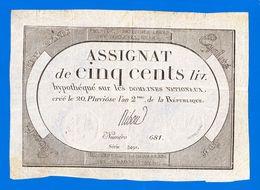 ASSIGNAT DE 500 LIVRES N° 48 MUSZYNSKI  SIGNATURE RIBOU N° 681 SÉRIE 3491 GRANDE MARGE 20 PLUVIOSE AN 2ème Serbon63 - Assignats