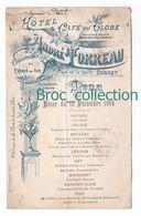 Cusset, Menu Hôtel & Café Du Globe, André Moreau, Ancienne Maison Bougerolles & Torreau, 10/12/1906 - Menükarten