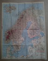 CARTE PLAN 1964 - 41,5 X 53,5 Cm - DANEMARK FINLANDE ISLANDE SUEDE NORVEGE - MAP DENMARK FINLAND ICELAND SWEDEN NORWAY - Topographical Maps