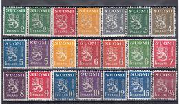 Finland 1945 - Wappenloewe, Mi-Nr. 296/316, MNH** - Finland