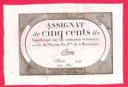 ASSIGNAT DE 500 LIVRES N° 48 MUSZYNSKI SIGNATURE BUSIER N° 346 SÉRIE 6580 GRANDE MARGE 20 PLUVIOSE AN 2ème Serbon63 - Assignats