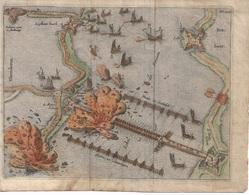 ANTWERPEN ETS VAN DE BRUG VAN FARNESE EN DE AANVAL VAN DE GEUZEN.   CA 17 E Eeuw: - Geographical Maps