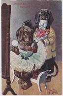 Arthur Thiele Teckel, Dachshund, Ehe=Glueck Signed, Beautiful Cpa Postcard 1909 T.S.N.Serie 949(6 Dres) - Thiele, Arthur