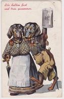 Teckel, Dachshund, Ehe=Glueck Signed, Beautiful Cpa Postcard 1909 Drinking Beer/bier - Chiens