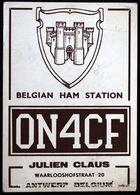Amateur Radio QSL Card - ON4CF - Julien Claus Waarlooshofstraat 20 Antwerp, Belgium - 1959 Belgian Ham Station - Amateurfunk