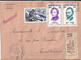 TP N° 1080/1086/1087 SUR LETTRE REC. DE TARBES/29.12.56 - 1921-1960: Modern Tijdperk