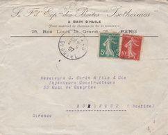FRANCE ENVELOPPE CIRCULEE PARIS 96 A BORDEAUX  ANNEE 1907 -LILHU - Frankrijk