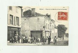 32 - MIELAN - Pace De La Mairie Et Rue Du Couvent Belle Animation Devanture épicerie Bon état - Autres Communes