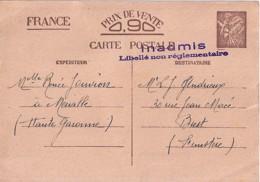TYPE IRIS ENTIER POSTAL N° SANS VALEURCP1ou2 / 1940   INADMIS/NON REGLEMENTAIRE - 1939-44 Iris