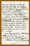 Comte De  La BAUME PLUVINEL  ( Château De Marcoussis )  1881 (Généalogie Famille PUYSEGUR) - Autographes