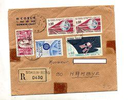 Lettre Recommandée Somain Sur Chemin De Fer Europa Academie Satellite - Marcophilie (Lettres)