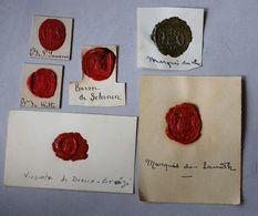 Cachet Cire Noblesse 6 Cachets Armoiries Blason Sceau Comte Vicomte Baron De Schonen De Witte Marquis Du Luc De Lameth - Seals