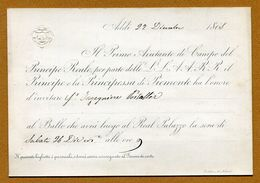 PIEMONT (Italie) : NOBLESSE ROYALE - Carte D'invitation Au Bal (1868) - Historical Documents