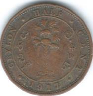 Ceylon - George V - 1917 - ½ Cent - KM106 - Sri Lanka