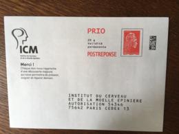 PAP REPONSE YSEULT ICM INSTITUT DU CERVEAU 228756 - Biglietto Postale