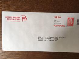 PAP REPONSE YSEULT LES PETITS FRERES DES PAUVRES 246098 - Entiers Postaux