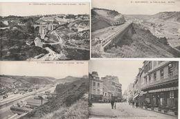 4 CPA:SAINT BRIEUC (22) TROIS PONTS,CAFÉ JOUHAUX RUE SAINT GUILLAUME,OUVRIERS SUR RAIL TRAIN VALLÉE DU GOUËT,LE LÉGUÉ - Saint-Brieuc