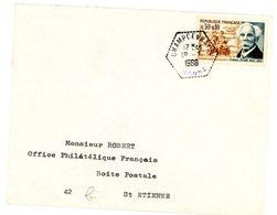 YONNE ENV 1966 SURTAXE 0,30+0,10 GABRIEL FAURE SEUL SUR LETTRE AGENCE POSTALE CHAMPCEVRAIS 501 HABITANTS EN 1968 - 1961-....