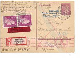 SH 0532. EP 6 Pf + TP 795 (2) AUSCHWITZ (OBERSCLES) 1 - 14.8.44 En EXPRES-RECOMMANDE Vers Ixelles.Censures Auschwitz -TB - WW II