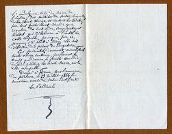 Lettre Autographe D'un CARDINAL (Château De Marcoussis ) 1886 (Généalogie Famille PUYSEGUR) - Autographs