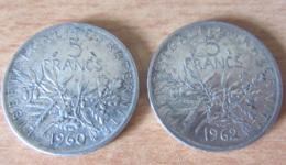 France - 2 Monnaies 5 Francs Semeuse 1960 Et 1962 En Argent - SUP Voire Proche SPL - Achat Immédiat - J. 5 Franchi