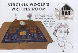 Virginia Woolf Book Author Desk Writing Room Painting Postcard - Scrittori