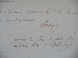 Baron De Thiry   LAS Autographe Signée 1810 Demande De Ne Pas Favoriser Son Fils à L'école Polytechnique!!!!! - Autographs