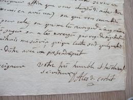 D'Alès De Corbet LAS Autographe Signée Légèrement Tronquée Blois 1751 Lt Maréchaux De France Affaires Militaires - Autographs