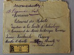 Lettre Recommandée Wien Vienne Adressée à Edmond Des Roberts Avec Cachet Cire 3 Cachets Différents Comte De Lavaulx 1927 - Seals
