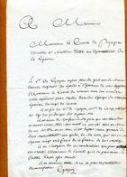 Comte De  GOYON  (au Comte De PUYSEGUR, Ministre De La Guerre ) - Autographs