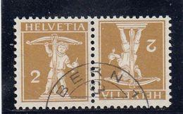 Suisse - Tête Bêche - N°YT 128a  - Oblitéré - Année 1909 - Tête-Bêche (omgekeerd)