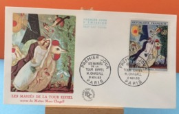 Les Mariés De La Tour Et Eiffel - Paris - 9.11.1963 - FDC 1er Jour - (Coté 10€ Y&T) - FDC