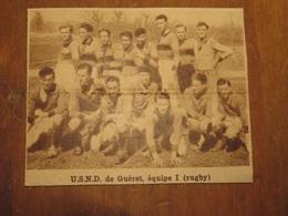 GUÉRET (CREUSE): U.S.N.D. DE GUÉRET ÉQUIPE 1 RUGBY (PHOTO DE JOURNAL: 06/1932) - Aquitaine