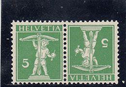 Suisse - Tête Bêche - N°YT 130a  - Neuf** - Année 1909 - Tête-Bêche (omgekeerd)
