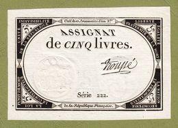 ASSIGNAT DE 5 LIVRES N° 39 MUSZYNSKI SIGNATURE TROUPE SÉRIE 222 MARGES 10 BRUMAIRE AN 2ème  31 OCTOBRE 1793  Serbon63 - Assignats
